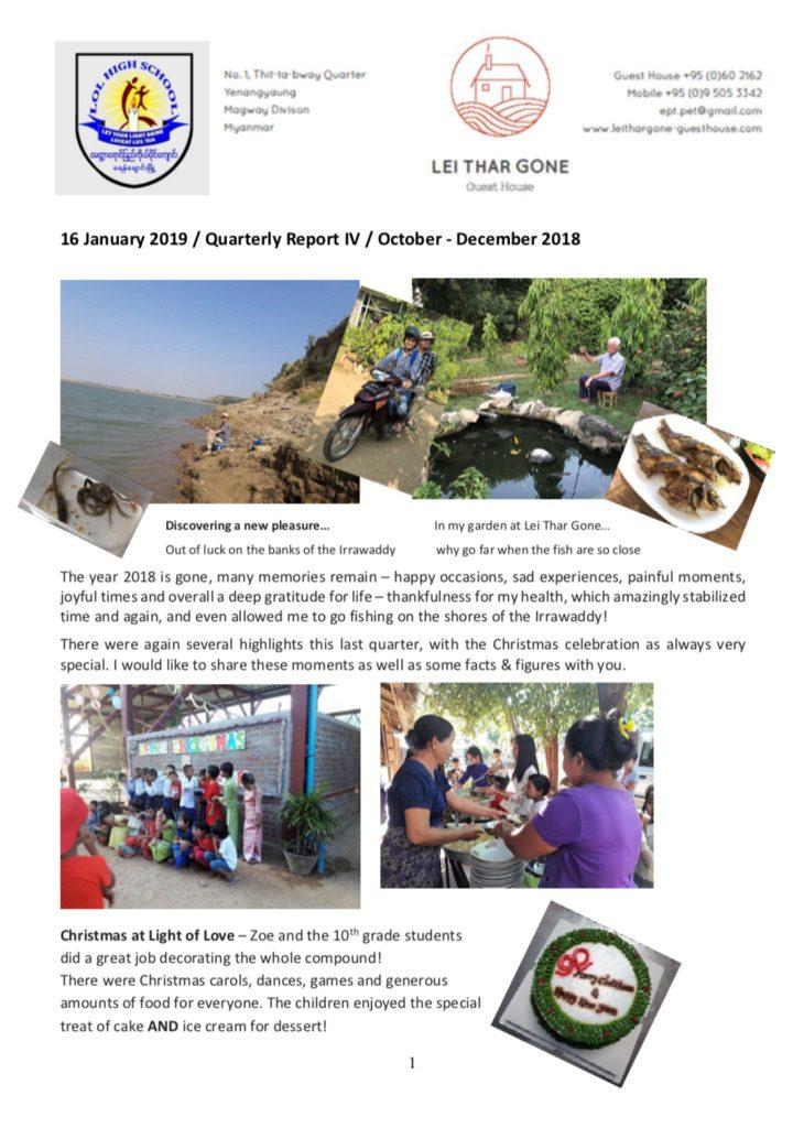 Quartalsbericht IV / 2018 Projekt Yenangyaung