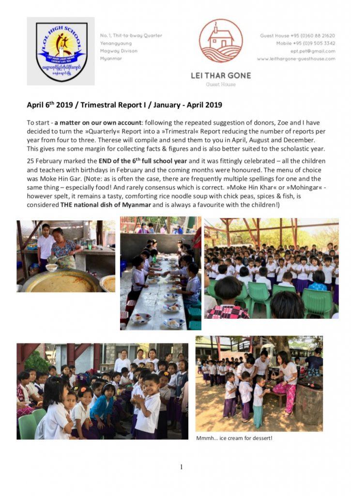 Quartalsbericht I / 2019 Projekt Yenangyaung