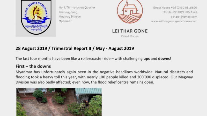 Quartalsbericht II 2019 - Projekt Yenangyaung