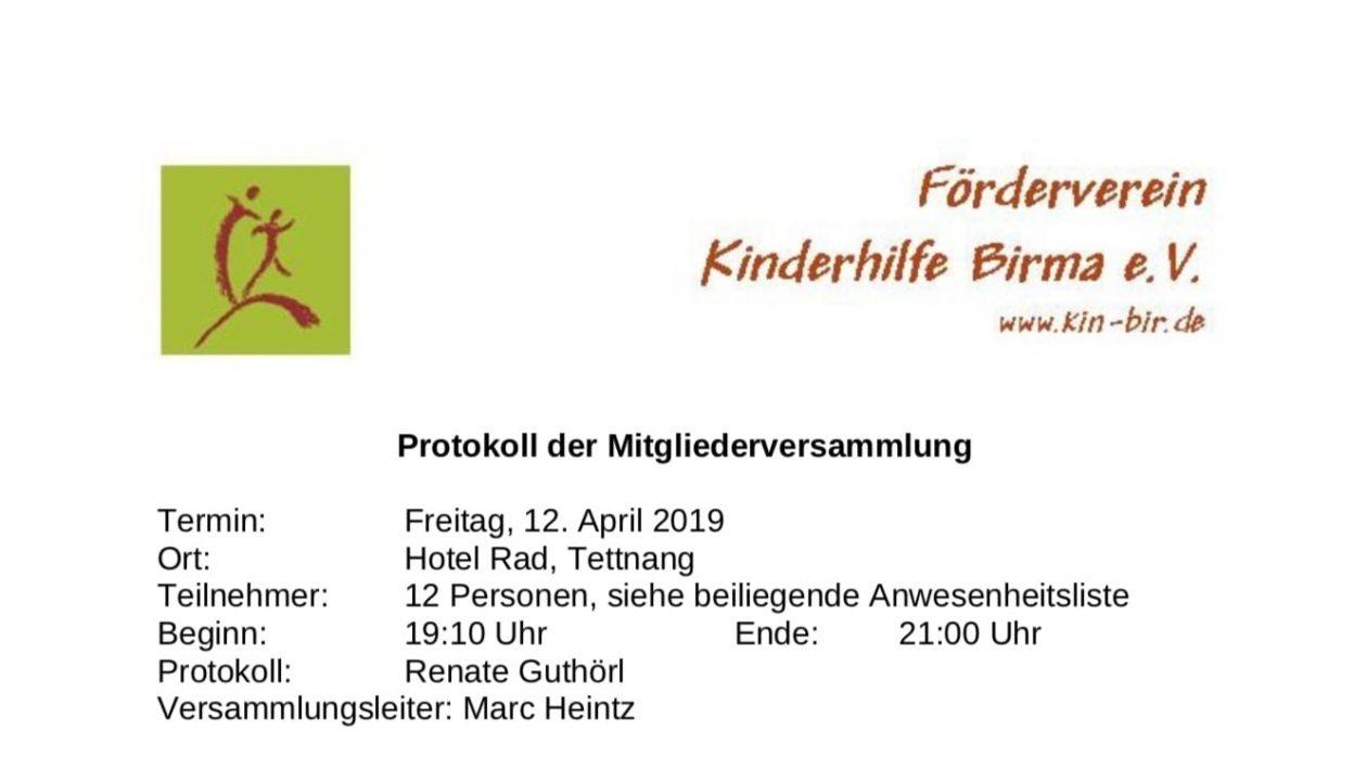 Mitgliederversammlung 2019 - Förderverein Kinderhilfe Birma e.V.